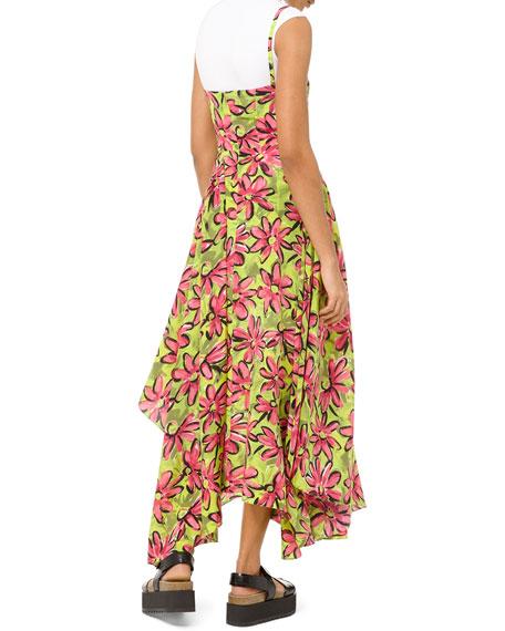 Floral Silk Asymmetric Wrap Dress