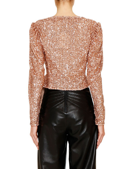 Sequined Long-Sleeve Draped Blouse