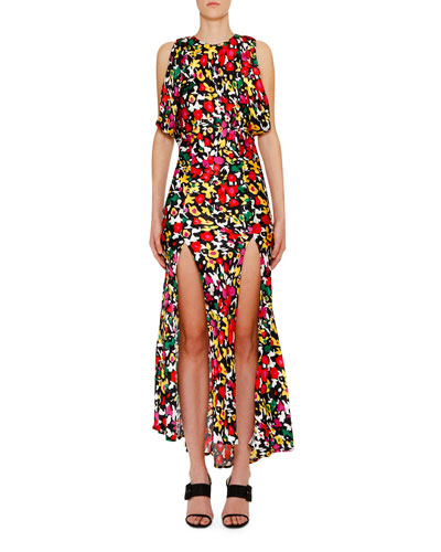 Spotted Floral-Print Dress