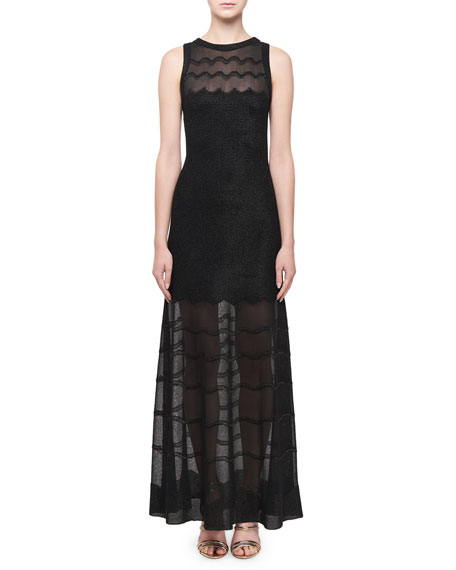 ALAIA Sheer-Paneled Raffia Cotillon Gown