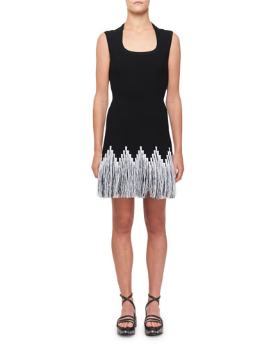 Raffia-Fringe Cocktail Dress