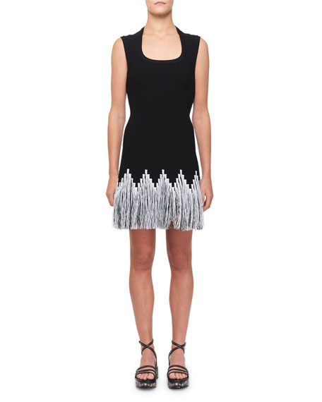 ALAIA Raffia-Fringe Cocktail Dress