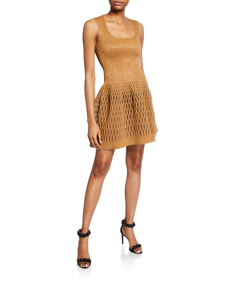 Shimmer Raffia Fit-and-Flare Dress
