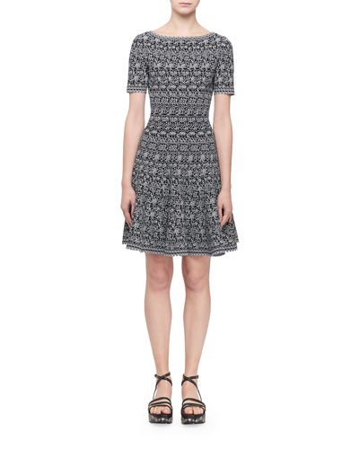 Short-Sleeve Labyrinth Intarsia Dress  Black/White