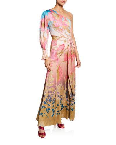 One-Shoulder Long-Sleeve Cocktail Dress