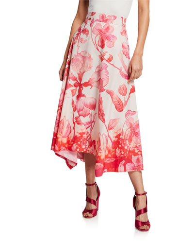 High-Rise Floral Asymmetric Skirt