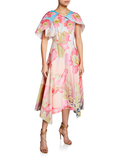 Asymmetric Floral-Print Capelet Dress