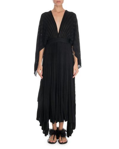 Deep V-Neck Plisse Knit Dress