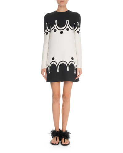 Long-Sleeve Scalloped-Print Crepe Couture Dress