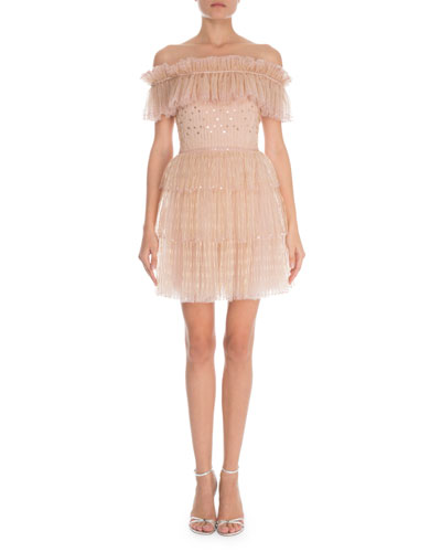 Off-the-Shoulder Tulle Embroidered Cocktail Dress