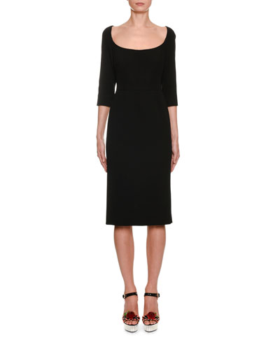 Scoop-Neck 3/4-Sleeve Crepe Pencil Dress