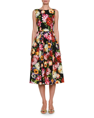 Floral-Print Sleeveless Cotton Midi Dress