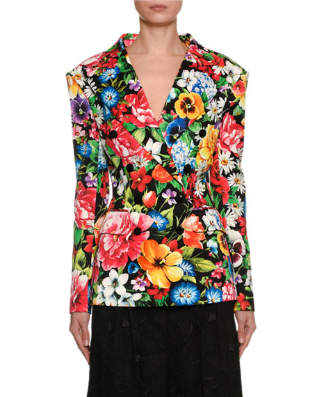 Double-Breasted Fitted Floral Cotton Jacket