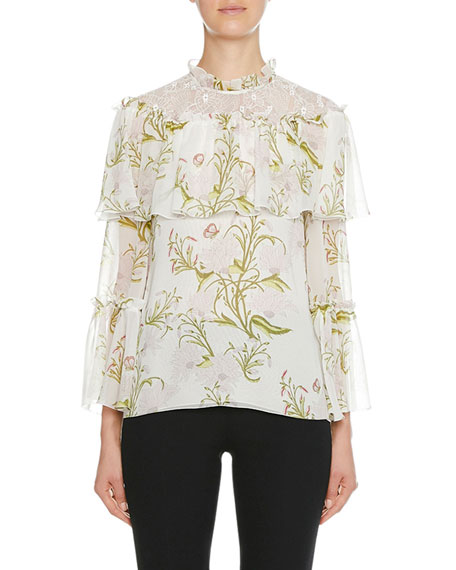 Silk Tiered Floral-Print Blouse