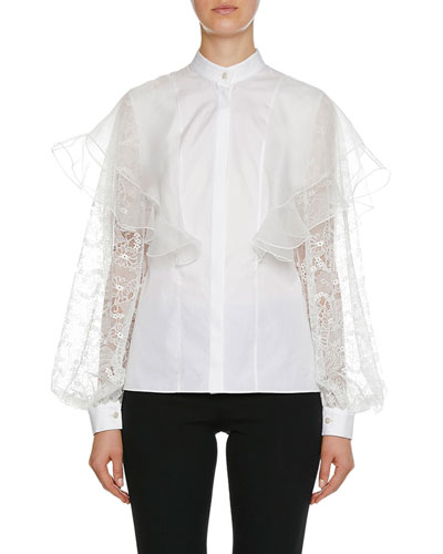 Lace Long-Sleeve Cotton Blouse