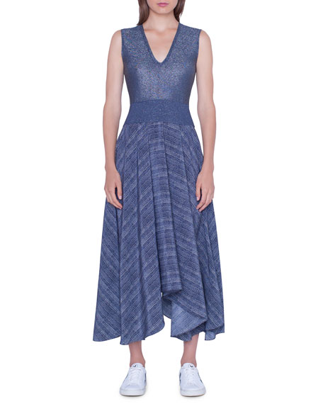 Akris V-Neck Shimmer Handkerchief Dress