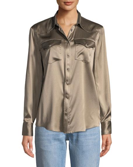 3cb9fe040b3137 Brunello Cucinelli Long-Sleeve Snap-Button Silk Western Shirt