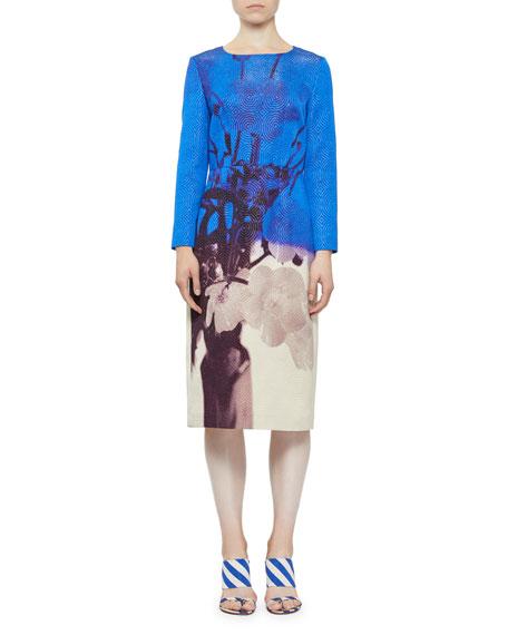 Dovina Metallic Swirl Floral-Print Sheath Dress in Blue