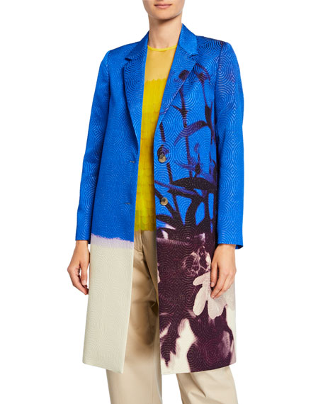 Dries Van Noten Floral-Print Metallic-Swirl Jacquard Coat