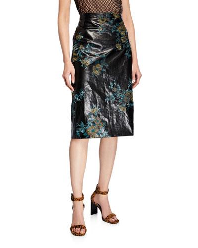 Floral Faux-Leather Pencil Skirt