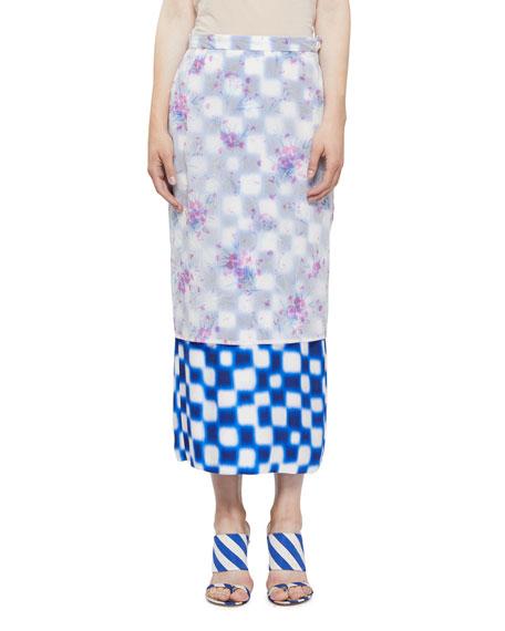 Dries Van Noten Long Check Skirt w/ Floral