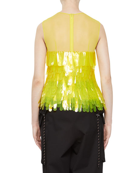 Centila Tulle Top with Plastic Feathers