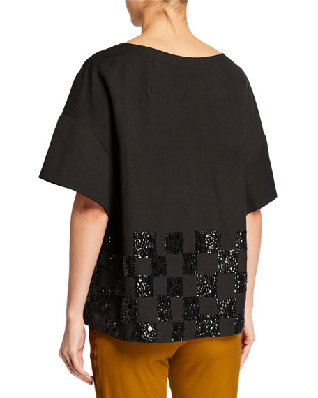 Short-Sleeve Check-Embroidered Crewneck Top