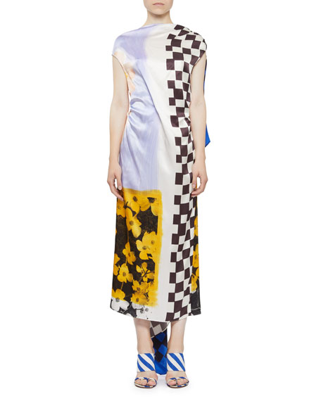 Dries Van Noten V-BACK CHECK & FLORAL SILK DRESS