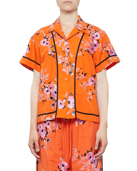 Copin Floral-Embroidered Short-Sleeve Pj Top in Orange
