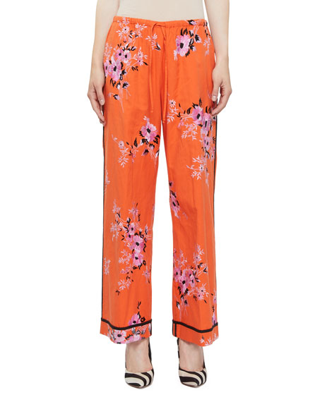 Dries Van Noten Pulvis Floral-Embroidered Drawstring Lounge Pants