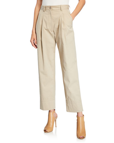Cuffed Pleated Cotton Pants