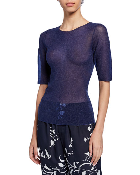 Dries Van Noten Shimmered 1/2-Sleeve Sweater
