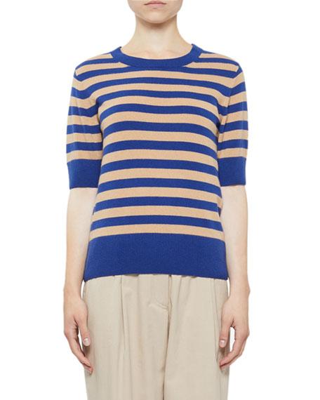 Dries Van Noten Cashmere Striped Shorts-Sleeve Sweater