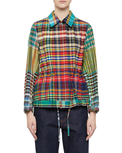 Checkered Drawstring Button-Front Blouse