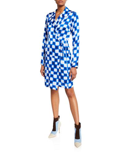 Checkered Tie-Waist Kimono Dress