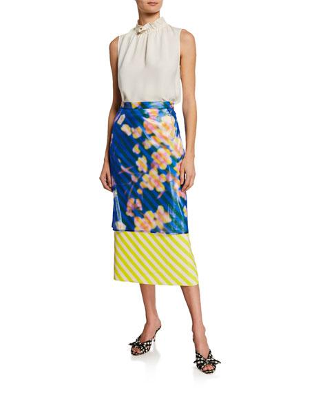 Striped Floral Skirt