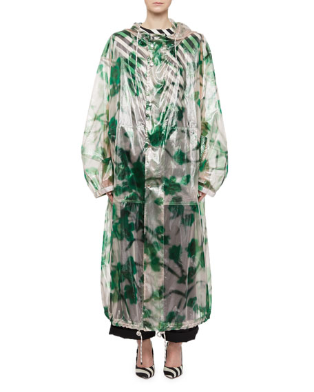 Transparent Floral Hooded Raincoat