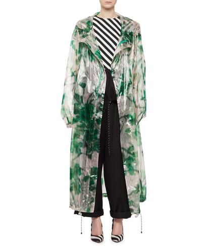 Transparent Floral Hooded Raincoat