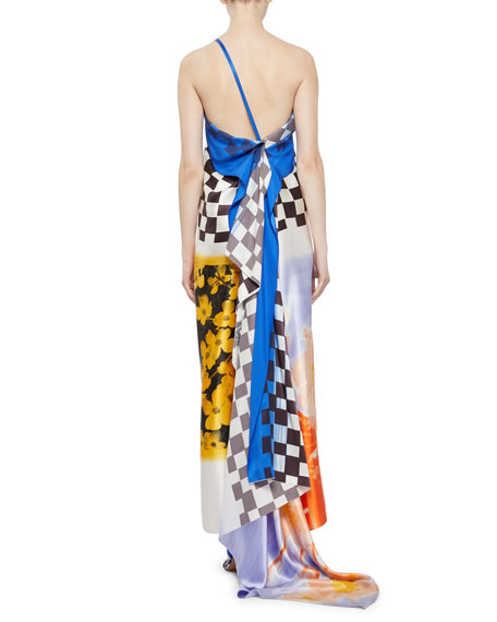 One-Shoulder Check & Floral Silk Dress