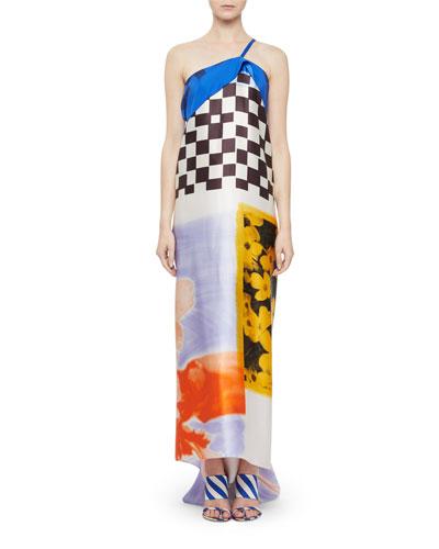 One-Shoulder Check & Floral Silk Dress