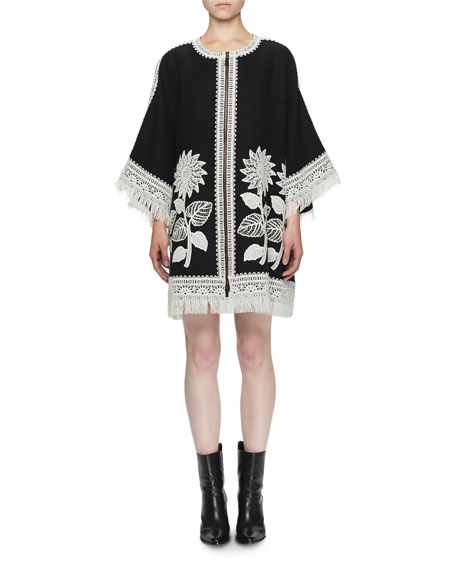Andrew Gn 3/4-Sleeve Sunflower Embroidered Linen Zip-Front Fringe
