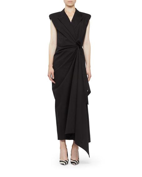 Shirred Cap-Sleeve Tie-Waist Dress in Black