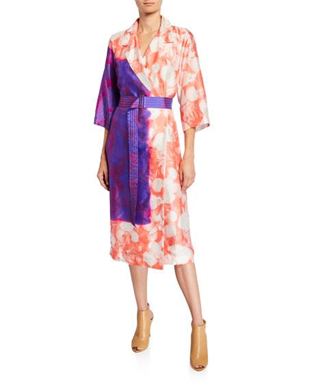 Dries Van Noten Dyed Floral Tie-Waist Robe Coat