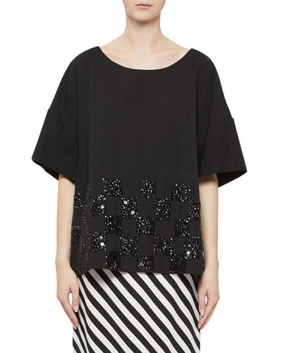 Beaded Short-Sleeve Top