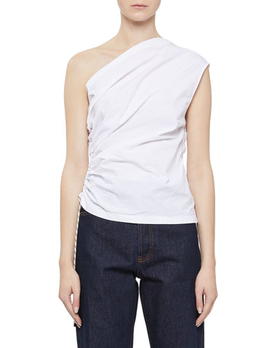 Cezar Poplin One-Shoulder Top with Cinched Side