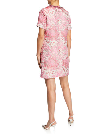 Short-Sleeve Jacquard Shift Dress