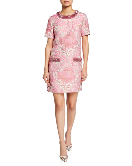 Andrew Gn Short-Sleeve Jacquard Shift Dress