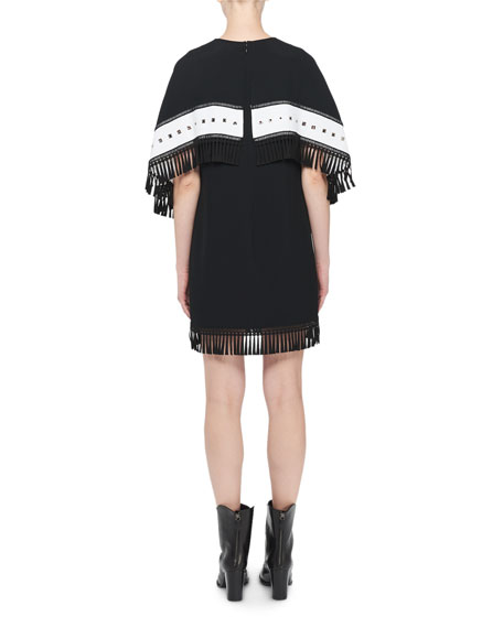 Keyhole Fringed-Cape Mini Dress