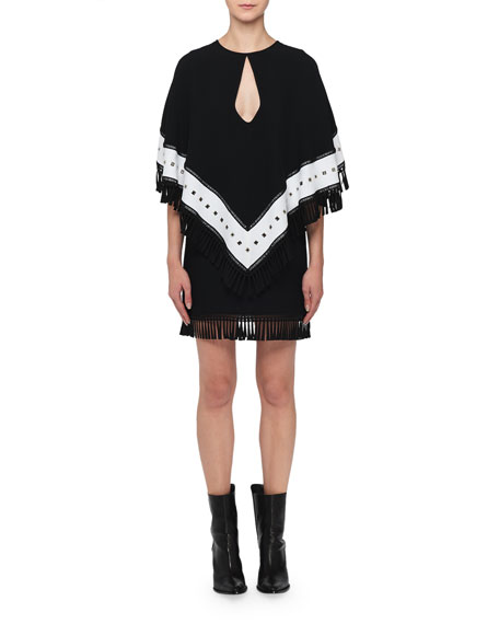 Andrew Gn Keyhole Fringed-Cape Mini Dress