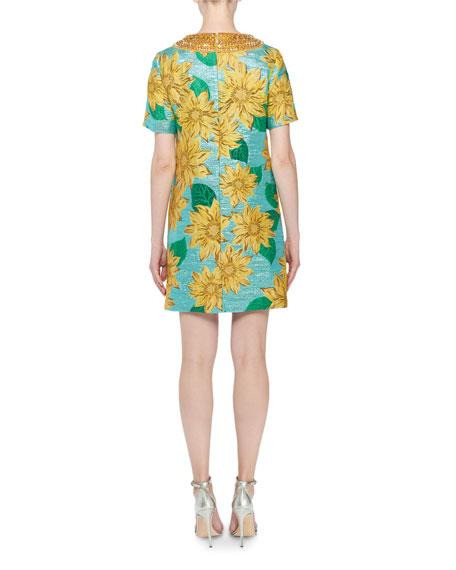 Jeweled-Neck Short-Sleeve Sunflower Jacquard Dress